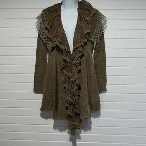 Ryu Anthropologie lace ruffle cardigan brown fall